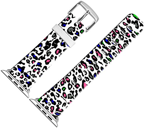 For Iwatch Bands 38mm,38mm Leather Strap Wrist Band Replacement W Silver Metal Clasp For Apple Watch 38mm Series 1 Series 2 Series 3 - Multi Colorful Leopard Lines Design by MUQR
