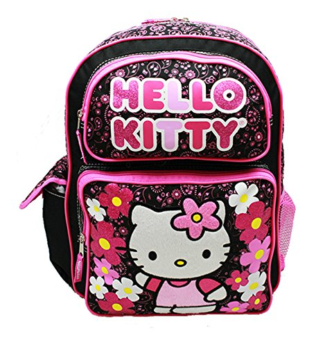 Backpack - Hello Kitty - Flowers Black (Large School Bag) - Hello Kitty Mesh Tote