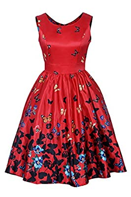 Minifaceminigirl 1950s 50s Retro Vintage Floral Spring Garden Cocktail Party Swing Dress for Women