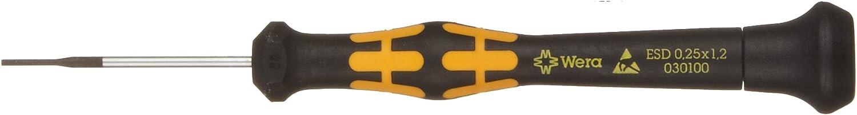 Wera 05030105001 Micro Tournevis pour vis /à Fente Kraftform 1578A 0.50x3.0x80mm Noir//Jaune