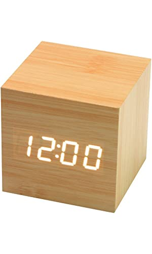 BOYON Fun Design Clock Cube-Shaped Digital Alarm Clock Office Desk Alarm Clock Sound-Sensitive Creative Table Wooden Clock with LCD Display for Kid, Home, Daily Life, Heavy Sleepers(Beige)