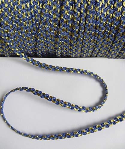 (FidgetKute 4MM Braided Blue/Metallic Gold Scallop Mini Trim Tape - 5 Yards (T1022B))