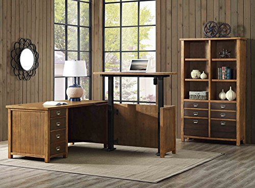 - Martin Furniture One Set, Hickory Finish Heritage Adjustable Height L-Desk & Bookcase Set Weight: 649 Lbs