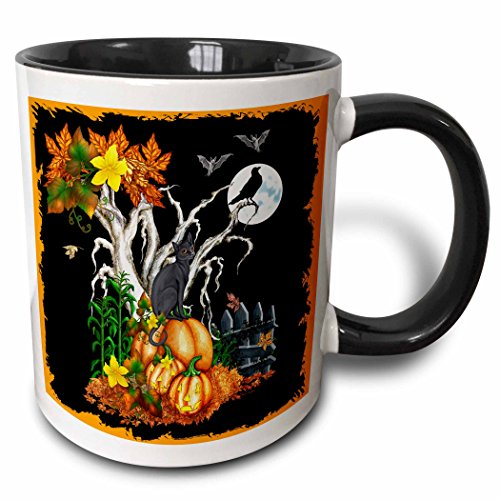 3dRose Halloween Night with a Black Cat, Creepy Tree, Full Moon, Bats and Jack O Lanterns Two Tone Black Mug, 11 oz, -