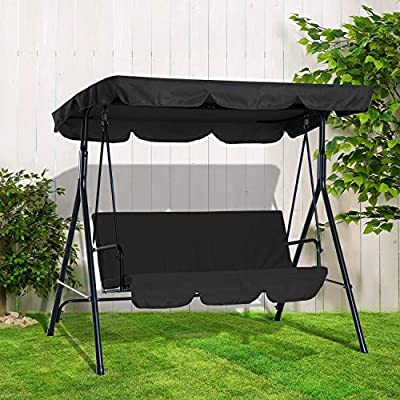 BARGAINSGALORE 3 Seat Outdoor Canopy Swing Black