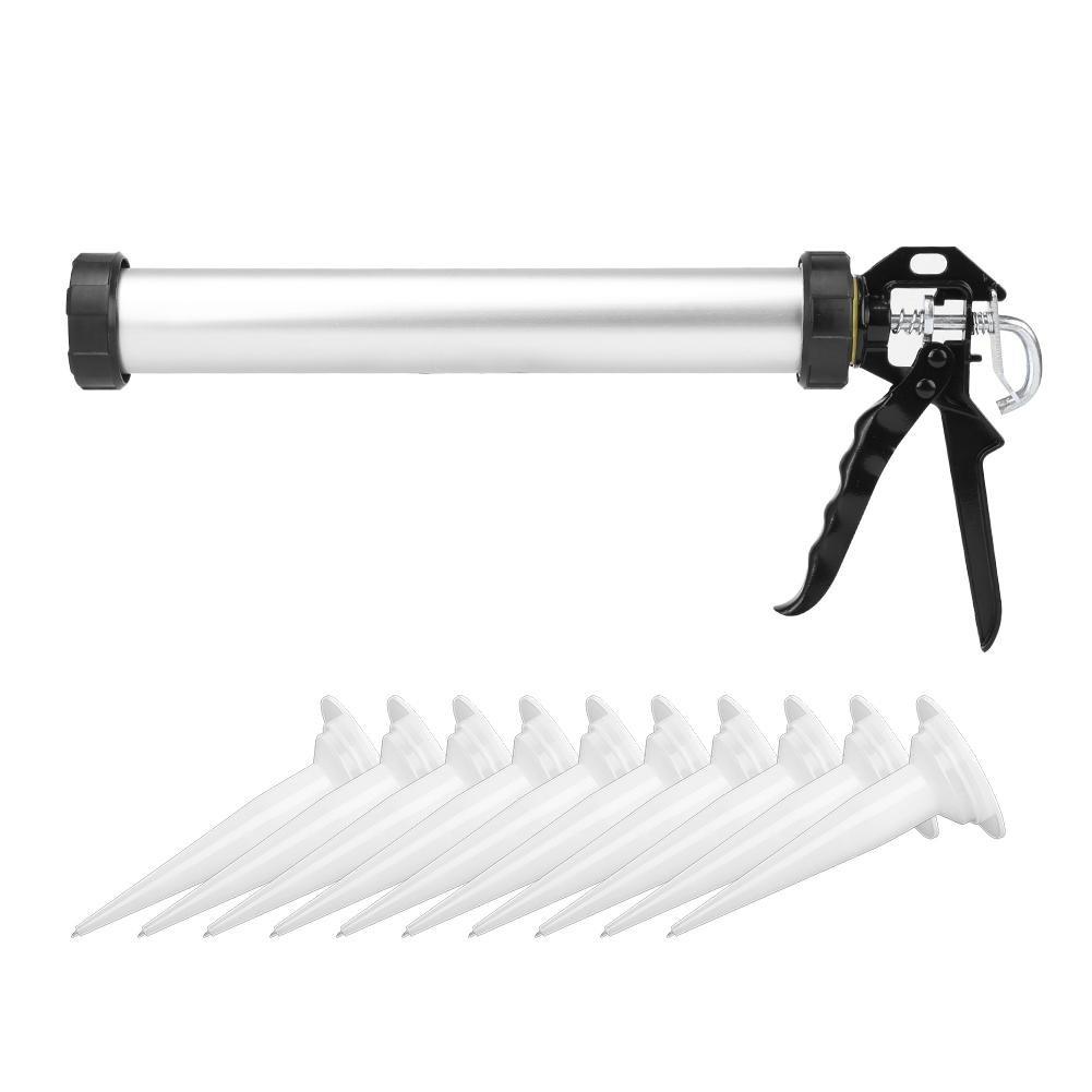 Pistola de calafateo de Silicona de Tubo de Aluminio de 1 Pieza 600 ml con 10 boquillas Wosume Herramienta de calafateo