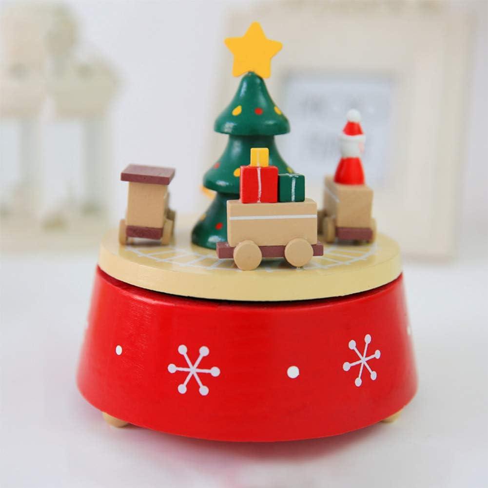 BGFBHTY Caja de música Árbol de Navidad Ocho Tono Caja Navidad Fantasía Caja de música giratoria de Madera Decoración de Navidad Regalo de cumpleaños de Año: Amazon.es: Hogar