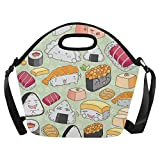 InterestPrint Cute Sushi Emoticon Face Large Reusable Insulated Neoprene Lunch Tote Bag Cooler 15.04'' x 14.21'' x 6.69'', Kawaii Japanese Food Portable Lunchbox Handbag with Shoulder Strap