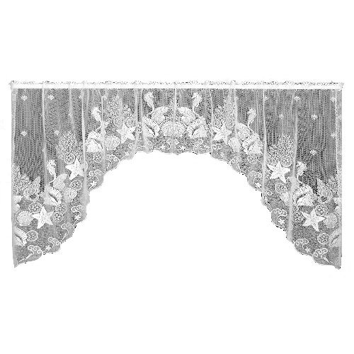 Heritage Lace Seascape 72-Inch Wide by 36-Inch Drop Swag Pair, White ()