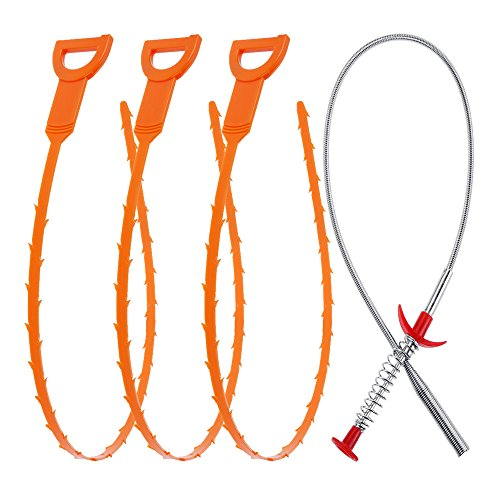 : Vastar AD333 4 in 1 Drain Snake Hair Drain with 3 Pieces Drain Auger Clog Remover Cleaning Tool and 1 Pack Drain Relief Tool