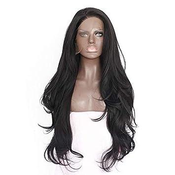 wig Peluca Sintética Rizada Larga Negra del Frente del Cordón Pelucas Sintéticas Rizadas para Las Mujeres