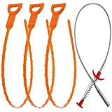 Vastar 4 in 1 Drain Snake Hair Drain with 3 Packs Drain Auger Clog Remover Cleaning Tool and 1 Pack Drain Relief Tool AG08