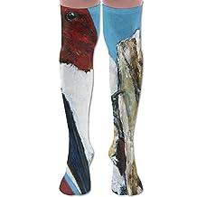 Men's Women's Knee High Socks Red Head Woodpecker Compression Socks Athletic Sock