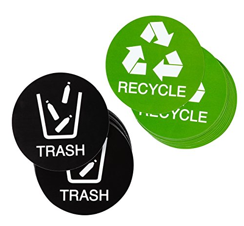 Juvale Recycle Stickers Trash Signs - 24-Pack Recycle Logo and Trash Can Sticker Labels for Organizing Garbage Waste, Self-Adhesive Decal for Home, Kitchen, Office Bins, 4 Inches Diameter