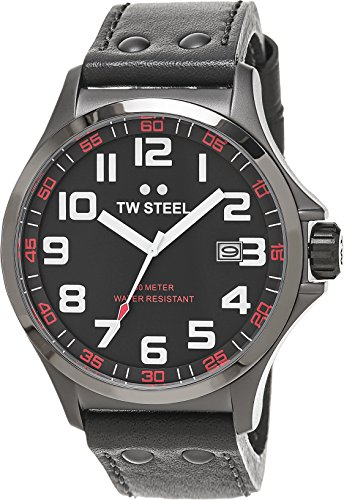 TW Steel Pilot Watch - Grey Dial Date TW Steel Watch Mens - Grey Leather Band 45mm Stainless Steel Plated Titanium Watch TW420