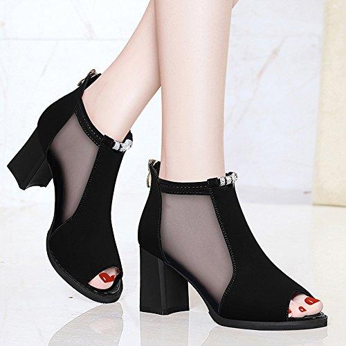 Haut 7cm Chaussures Sandales Été Le Mode Imperméable Haut Pour L'eau tableau À 1cm Matériau Femmes Fil Talon Net Pu Feifei Noir Avec BqXwqRrP