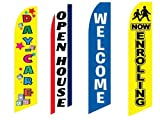 4 Swooper Flags Daycare School Children Open House Now Enrollling Welcome Yellow