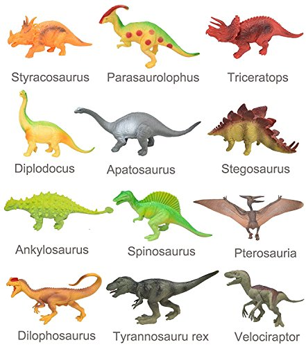 "LEHII Dinosaur Toys for Toddlers Party Favors - 8"" Educational Toys for Kids Dinosaur Figures with Book Including T-rex Triceratops Velociraptor Gift Set"