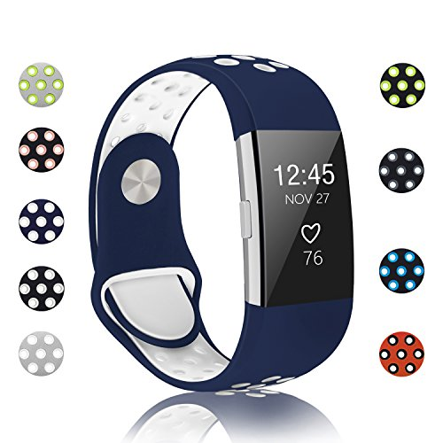 POY Replacement Bands Compatible for Fitbit Charge 2, Adjustable Breathable Wristbands with Air Holes Straps, Small Blue White 1PC