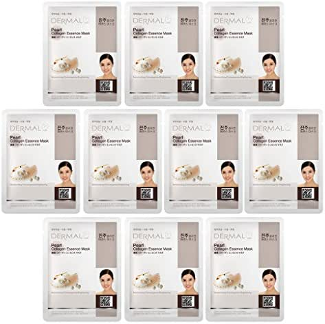 DERMAL Pearl Collagen Essence Facial Mask Sheet 23g Pack of 10
