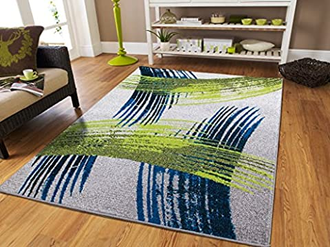 Luxury New Fashion Art Collection Contemporary Modern Rugs Splat Blue Black Cream Gray Green 5 by 8 Rugs for Bedroom for Teens Contemporary Rugs 5x7 Dining Room Carpet, 5x8 (Blue And Green Bedroom Rugs)