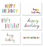 Birthday Card - 48-Pack Birthday Cards Box Set, Happy Birthday Cards - Colorful Rainbow Font Designs Birthday Card Bulk, Envelopes Included, 4 x 6 Inches