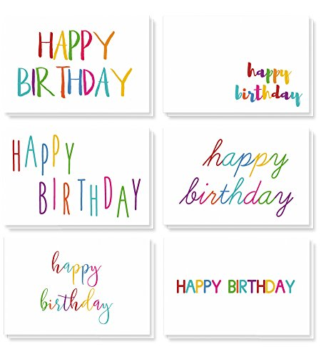 48 Happy Birthday Cards Bulk Assortment – 6 Unique Colorful Rainbow Font Designs 4 x 6 Inches Includes 48 Envelopes