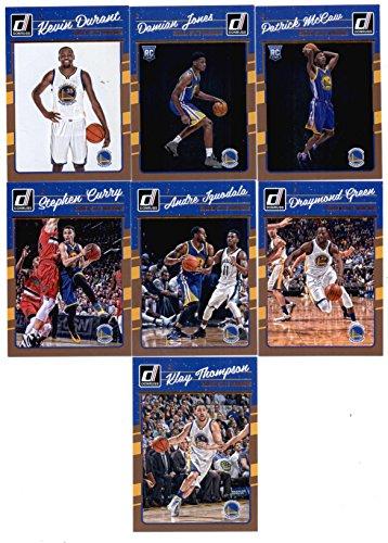 2016-17 Donruss Basketball Golden State Warriors Team Set of 7 Cards: Stephen Curry(#135), Klay Thompson(#136), Kevin Durant(#137), Draymond Green(#138), Andre Iguodala(#139), Damian Jones(#174), Patrick McCaw(#181)