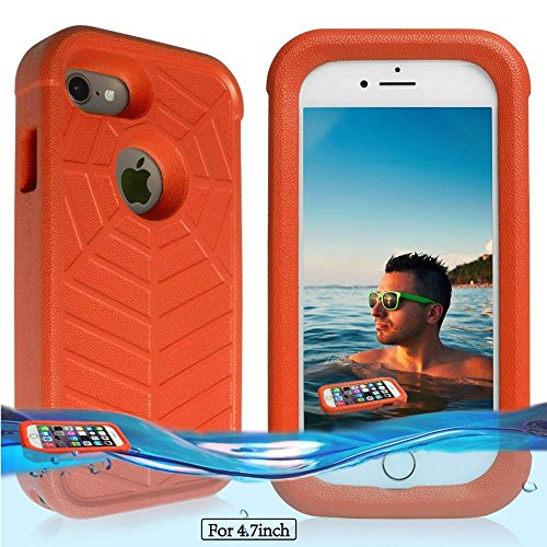 (Temdan iPhone 8 / 7 / 6/6s Floating Case with a 0.2mm Clear&Thin Waterproof Bag Shockproof Lifejacket Case for iPhone 8 / 7 / 6 (4.7inch) -Orange)