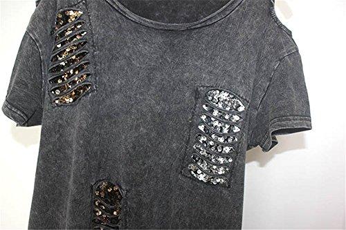 Damen Sexy Straße Punk Hippie T-Shirt Shirt Damenbluse Tops Kurzarm Schulterfrei Tassel Einmalig
