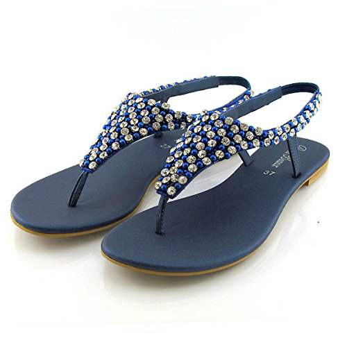 ESSEX GLAM Womens Diamante Pearl Toe Post Flat Sandals (9 B(M) US, Navy) (Red White And Blue Crystal Flip Flops)