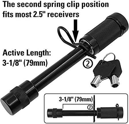 Anti-Rattle Tow Hitch Receiver Lock V Hitches with 2 and 2.5 Receivers Tiger Lock 5//8 Black Trailer Hitch Locking Pin fits Class III