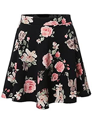 Made by Emma MBE Women's Floral Elasticized Waistband Swing Skater A-Lined Skirt