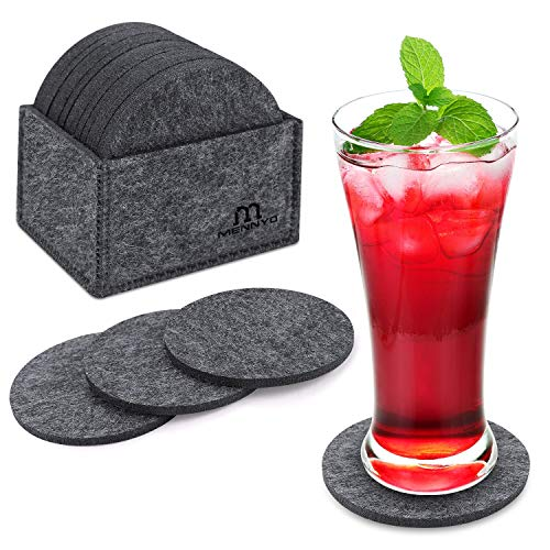 MENNYO Coasters with Holder Set of 14, Drink Coasters Mats Non Slip Heat Resistant Decorative for Home, Round Felt Coasters for Bowls, Cups, Mugs, Glasses, Presents for Friend