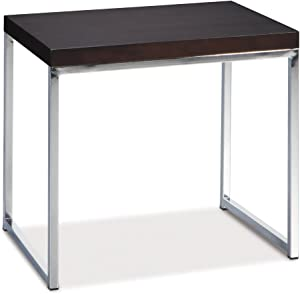 OSP Home Furnishings Wall Street End Table, Chrome and Espresso