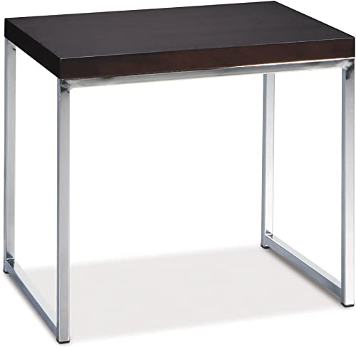 OSP Home Furnishings AVE SIX Wall Street End Table, Chrome and Espresso