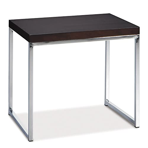 Ave Six Wall Street End Table, Chrome and Espresso
