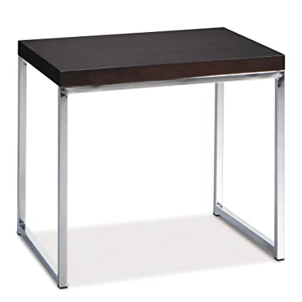 AVE SIX Wall Street End Table Chrome And Espresso