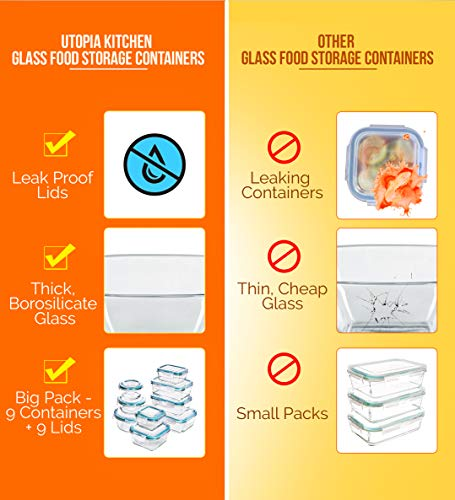 Utopia Kitchen [18-Pieces] Glass Food Storage Containers with Lids - Glass Meal Prep Containers with Transparent Lids BPA Free and FDA Approved (9 Containers and 9 Lids)