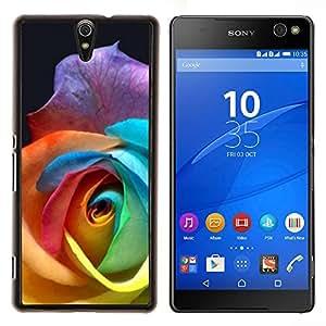 Caucho caso de Shell duro de la cubierta de accesorios de protección BY RAYDREAMMM - Sony Xperia C5 Ultra - Color de Rosa Hermosa Flor