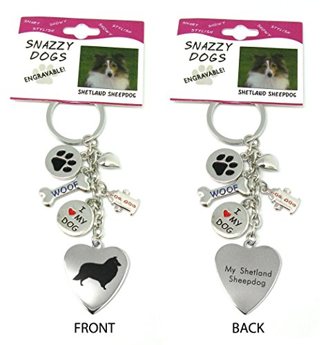 Sheepdog Dog Keychain - Shetland Sheepdog Keychain for Women, Girls, Boys, Men - Engraved Stainless Steel Dog Key Ring with Charms – Cute I Love My Dog Key Fob Gift - Cute Pet Accessories by Frogsac USA
