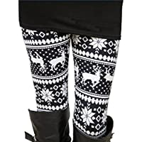 Ensasa Womens Autumn Winter Snowflake Graphic Printed Stretchy Leggings Pants