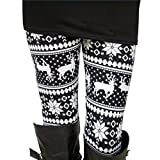 #9: Ensasa Womens Autumn Winter Snowflake Graphic Printed Stretchy Leggings Pants