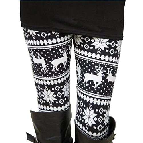 Ensasa Womens Autumn Winter Snowflake Graphic Printed Stretchy Leggings Pants, Black White Reindeer ()