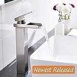 waterfall vessel faucet brushed nickel Comllen Waterfall Spout Single Handle Lever Bathroom Vessel Sink Faucet, Brushed Nickel