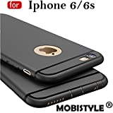 "Mobistyle ""360 Degree"" Sleek Matte Tpu Back Case Cover For Apple Iphone 6 / Iphone 6S (4.7 Inch Screen) Black With Shining Line With All Sides Protection"