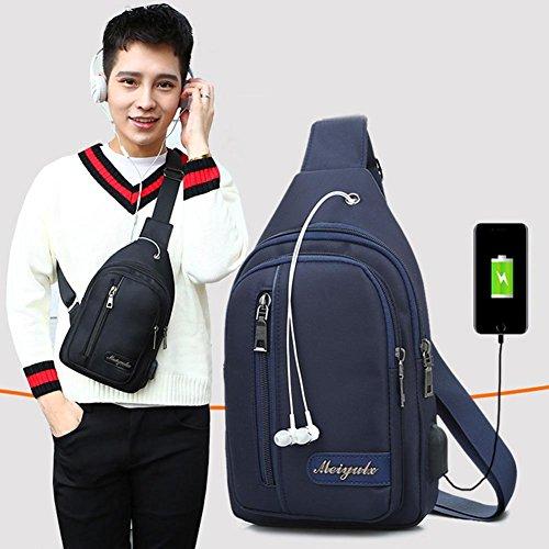 Blue Messenger Single Chest Zip Crossbody Sling Widewing Shoulder Bag Nylon Pack Men H1w6qOP