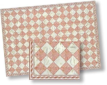 Dollhouse Miniature Dark Pink Faux Marble Floor Tile
