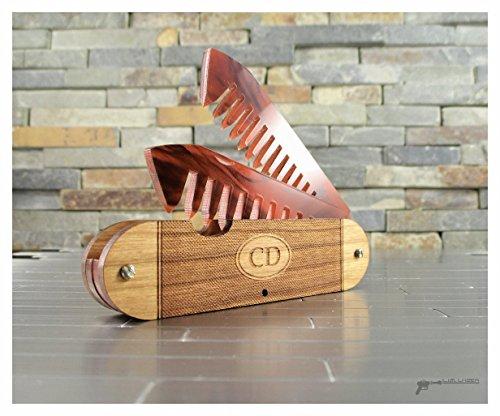Wood Beard Folding Comb, Pocket Knife Style by L.I.M. Lazer