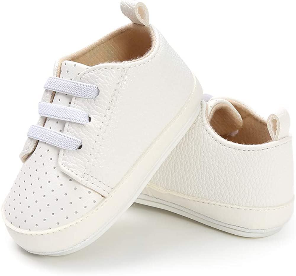 LACOFIA Baby Casual Lace-up Sneakers Infant Boys Soft Sole First Walking Shoes